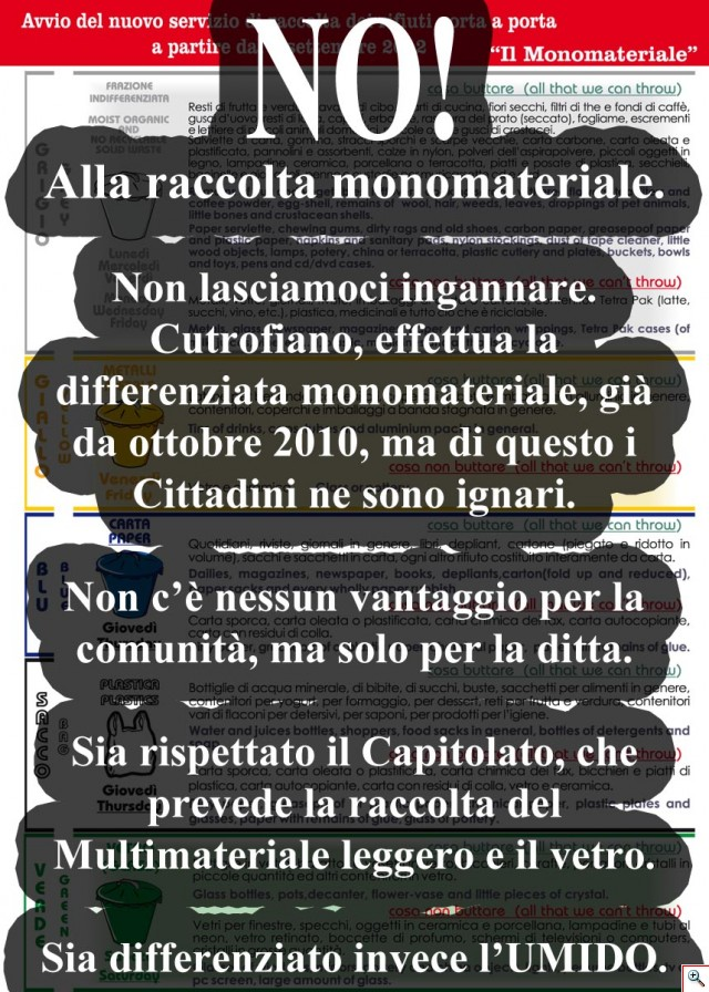 No! Alla differenziata Monomateriale